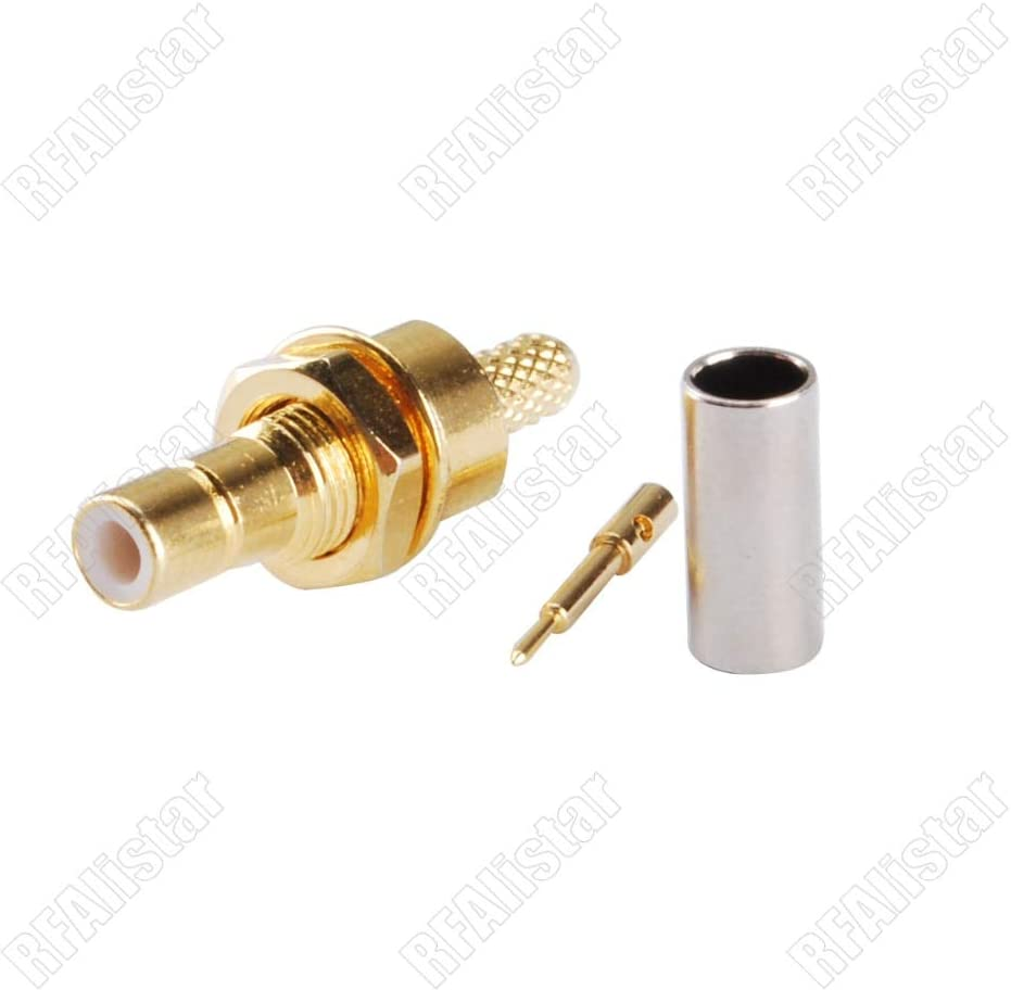 Gimax SMB Male Plug Nut Bulkhead Crimp For RG174 RG316 LMR100 Coax Cable RF Connector Straight Brass Goldplated