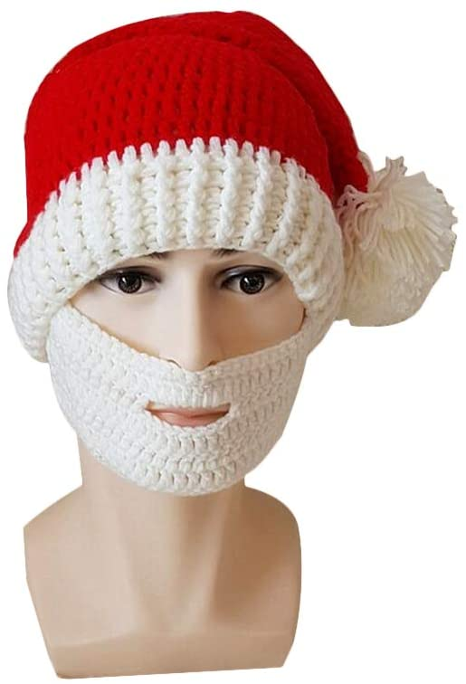 BESTOYARD Fashion Santa Claus Cap Red Knitted Hat Funny Adult Beard Hats Christmas Ornaments for Xmas Party New Year Decoration Cosplay (White)