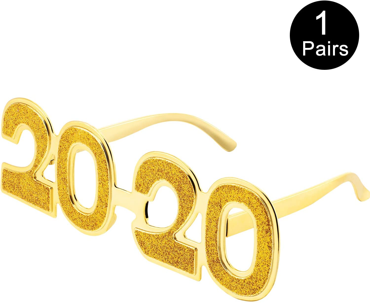 2020 Eyeglasses Glitter 2020 Number Glasses New Year Fun Eyewear Novelty Glasses for 2020 New Year Party Favors Grad Party Supplies (Glitter Gold, 1 Pair)