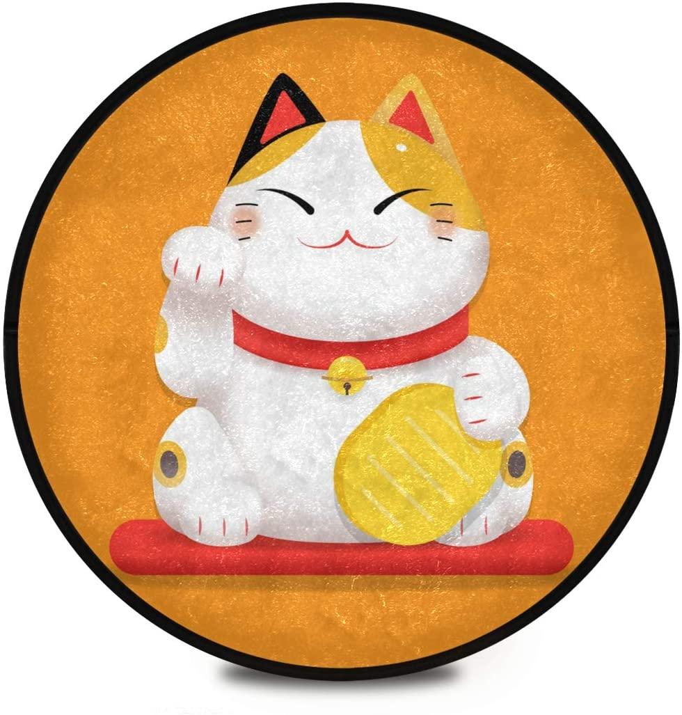 Shaggy Round Mat Cute Maneki Neko Lucky Cat Round Rug for Kids Bathroom Anti-Slip Rug Room Carpets Play Mat