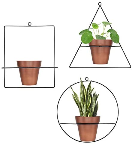 Set 3 Hanging Planters for Indoor Plants, Geometric Metal Boho Wall Decor, Modern Succulent Planter Pots, Herb Garden Containers, Decoration for Kitchen Living Room, Cool Room Wall Art, Hanging Vases