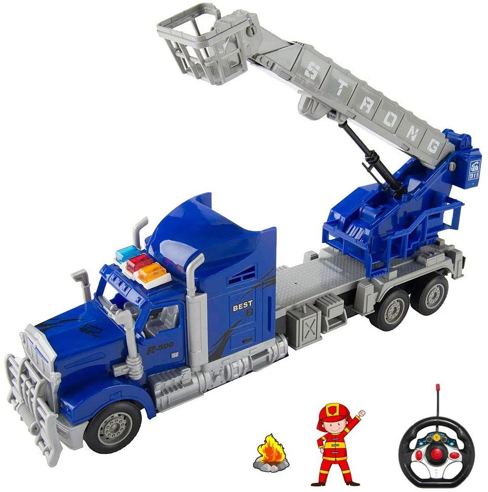 1:15 Scale Large Size RC Fire Truck with Lights and Extendable Ladder, Battery Operated Remote Control Firetruck Toy for Kids, Boys, Girls