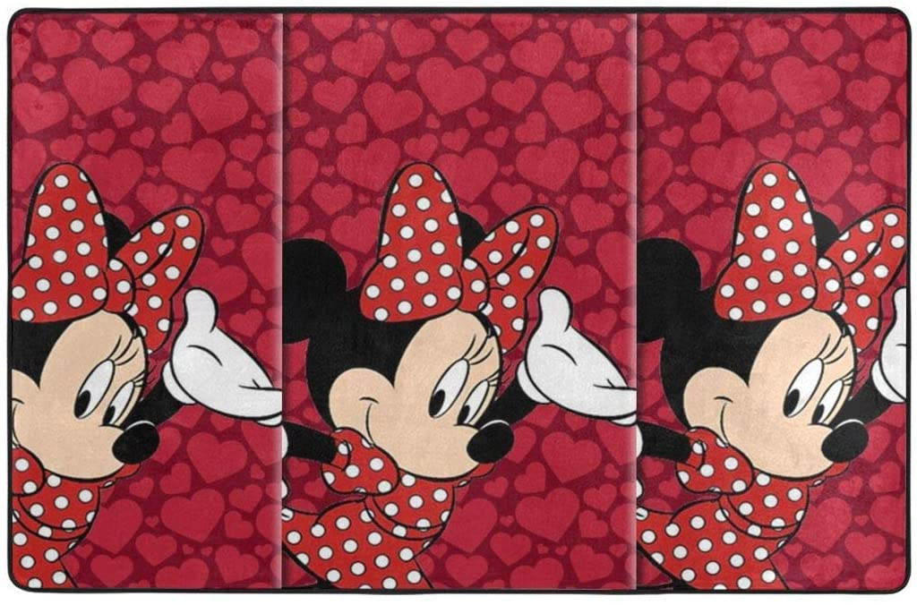 Large Soft Flannel Area Rug Anti- Skid Red Minnie Mouse Carpet Bedroom Kids Room Mat Home Decor- 60 X 39 in
