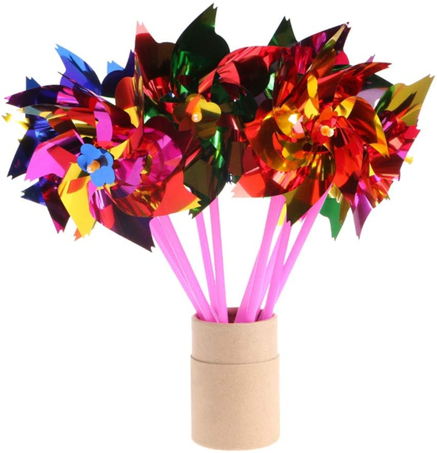 Dasunny 100Pcs 8-Point Pinwheels, 6 Colors, Fun Carnival Toy & Party Favor, Amazing Gift for Boys & Girls