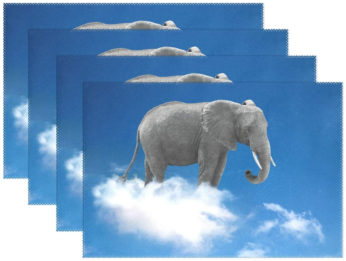 Set of 6 Place Mats Elephant On Clouds Clear Blue Sky Non-Slip Washable Kitchen Heat-Resistant Home Decor Dining Tablemats 12x18in
