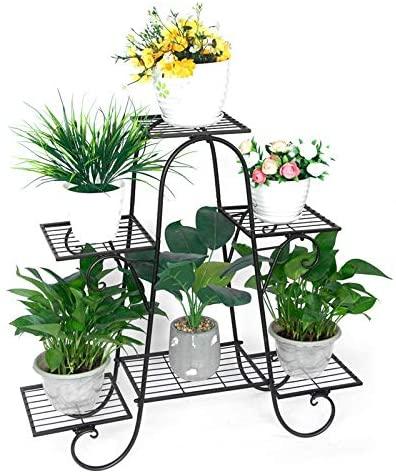 A7D8F9 6-Tier Metal Flower Pot Plant Stand Balcony Floor-Standing Multilayer Shelf Rack,Metal Flower Stand,Flower Display Stand