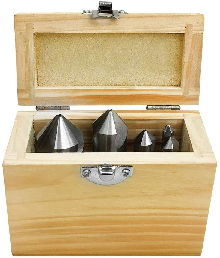 MH GLOBAL Set of 5 Pieces High Speed Steel 3 Flute Countersink 82 Degree