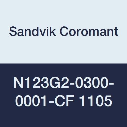 Sandvik Coromant, N123G2-0300-0001-CF 1105, CoroCut 1-2 Insert for Parting, Carbide, Neutral Cut, 1105 Grade, (Ti,Al) N