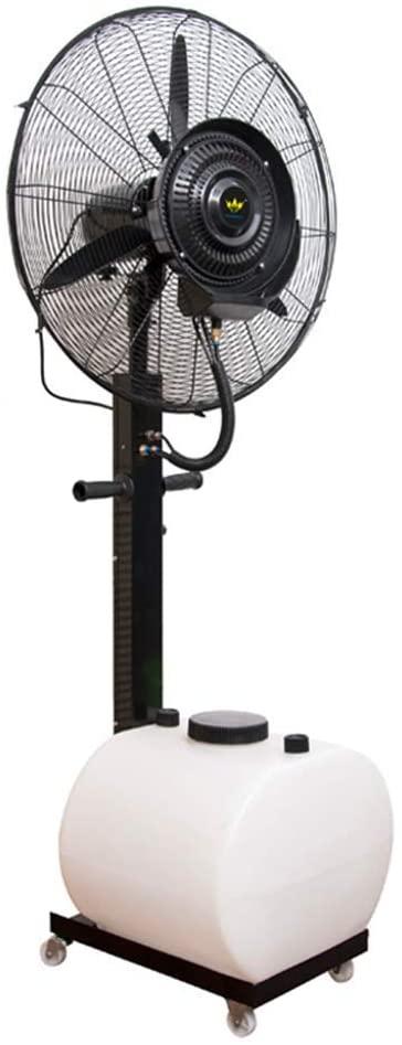 KMMK Home Electric Fan,Pedestal Fans Oscillating Misting Fan Industrial Factory Misting Spray Fan Cooling Floor Humidifier Commercial Atomization Quiet Large Electric Fan with Wheels/Water Tank -Fixe