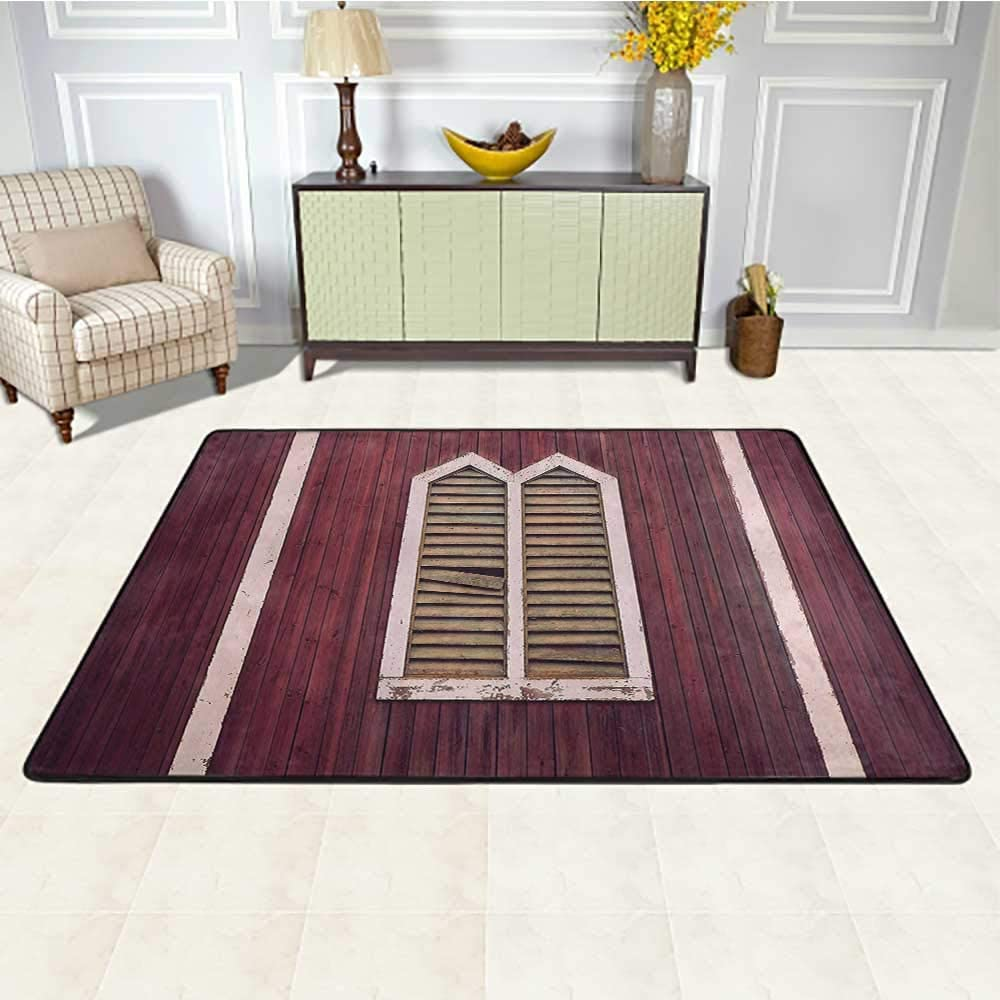 Shutters Decor Kids Area Rugs 5' x 7', Window Frame with Shutters on Wooden Wall Vintage Style Decorating Artwork Print Kids Carpet, Burgundy Pink