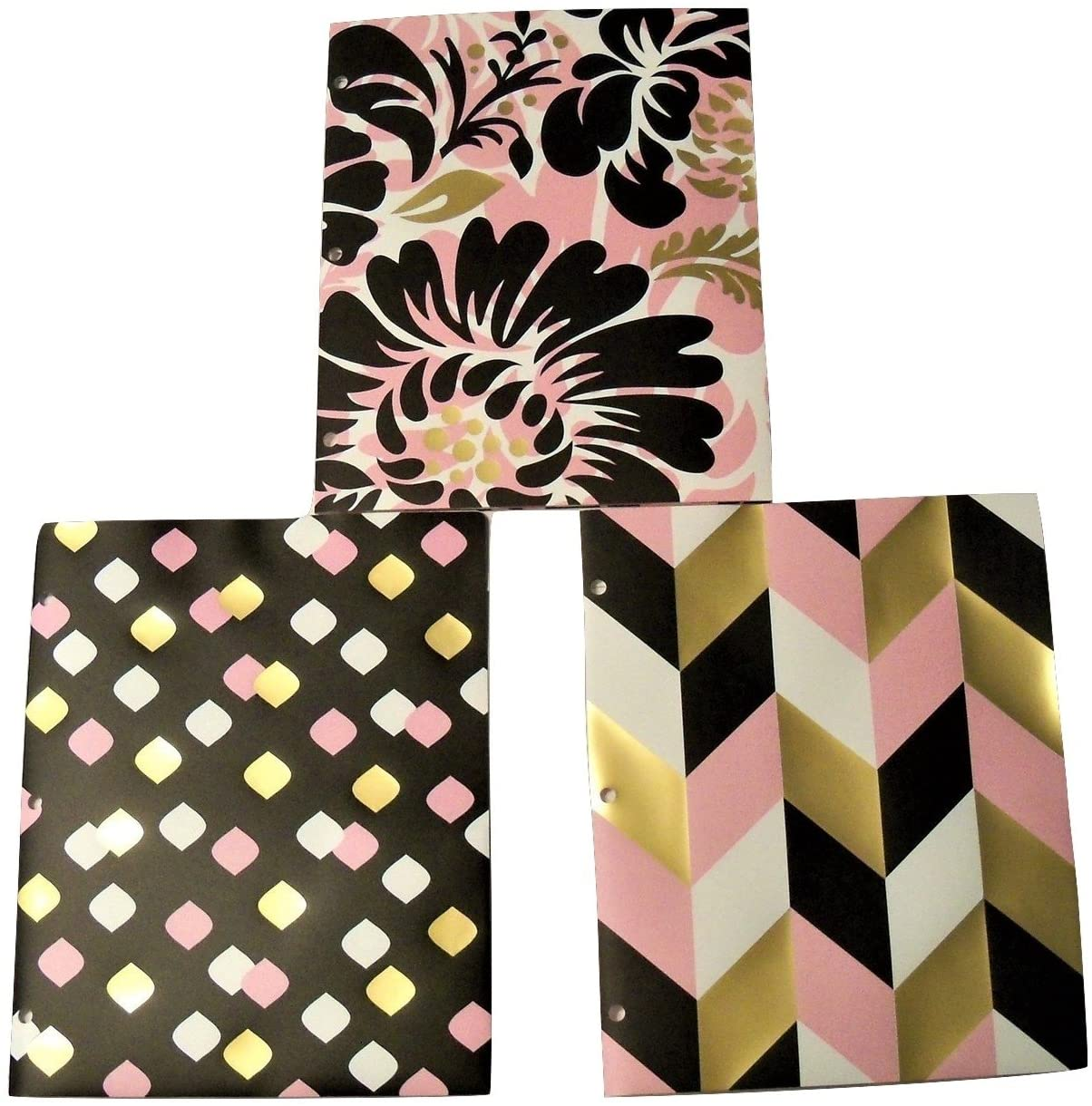 Studio C Carolina Pad Set of 3 Deluxe Poly Folders ~ Put it in Neutral (Floral Delight, Marquise Polka Dots, Chevron Fun)