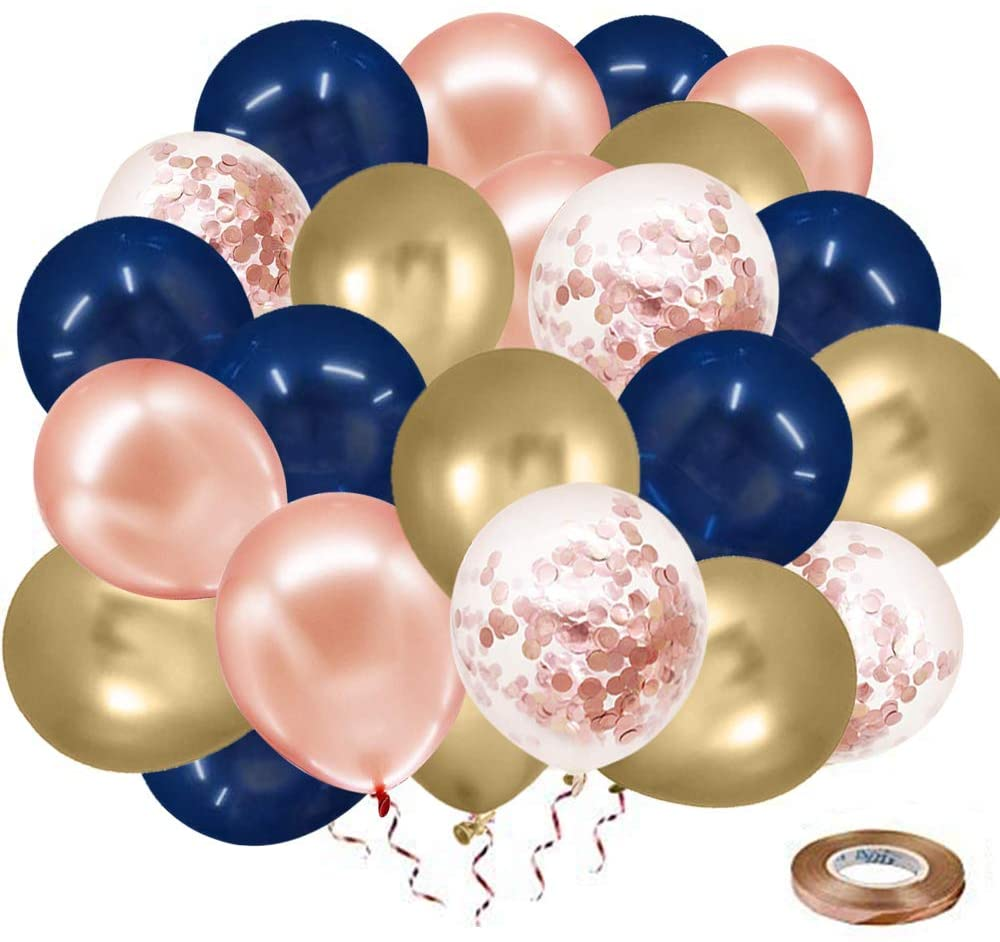 Rose Gold Blue Balloons Supplies, 50 pcs 12 Inches Navy Blue and Gold Metallic Balloons with Rose Gold Ribbon for Wedding, Birthday Party Decorations