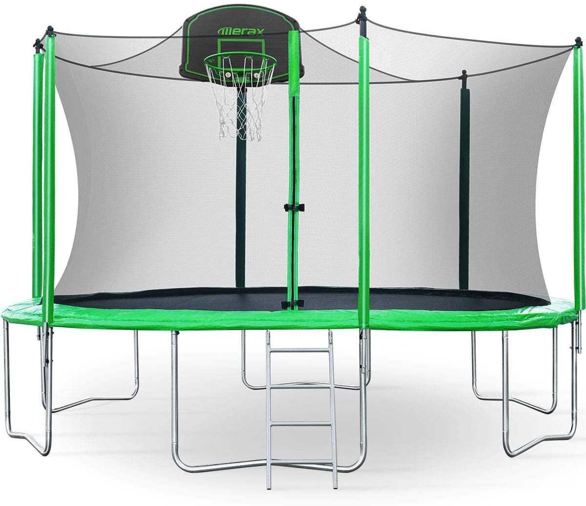 Merax 12FT Trampoline with Safety Enclosure Net, Basketball Hoop and Ladder - BV Certificated – Basketball Trampoline