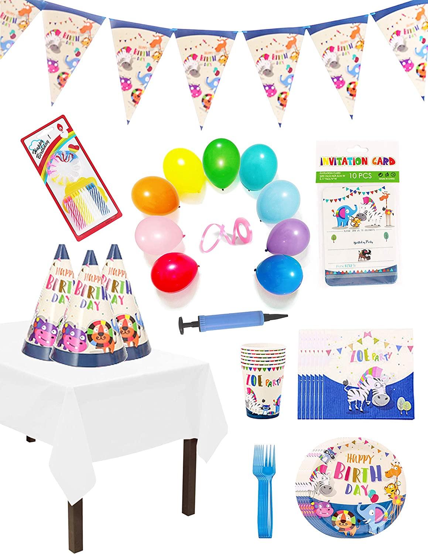 S & E TEACHER'S EDITION 130 Pcs Cute Animals Birthday Party Supplies Pack - Serves 6