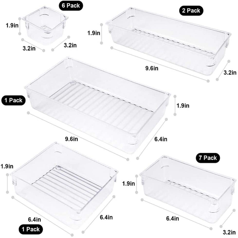 17PCS Desk Drawer Organizer Trays with 5-Size Drawer Dividers, Clear Drawer Organizer,Plastic Drawer Compartment Divider, Layout Storage Box Container for Bedroom Dresser Office
