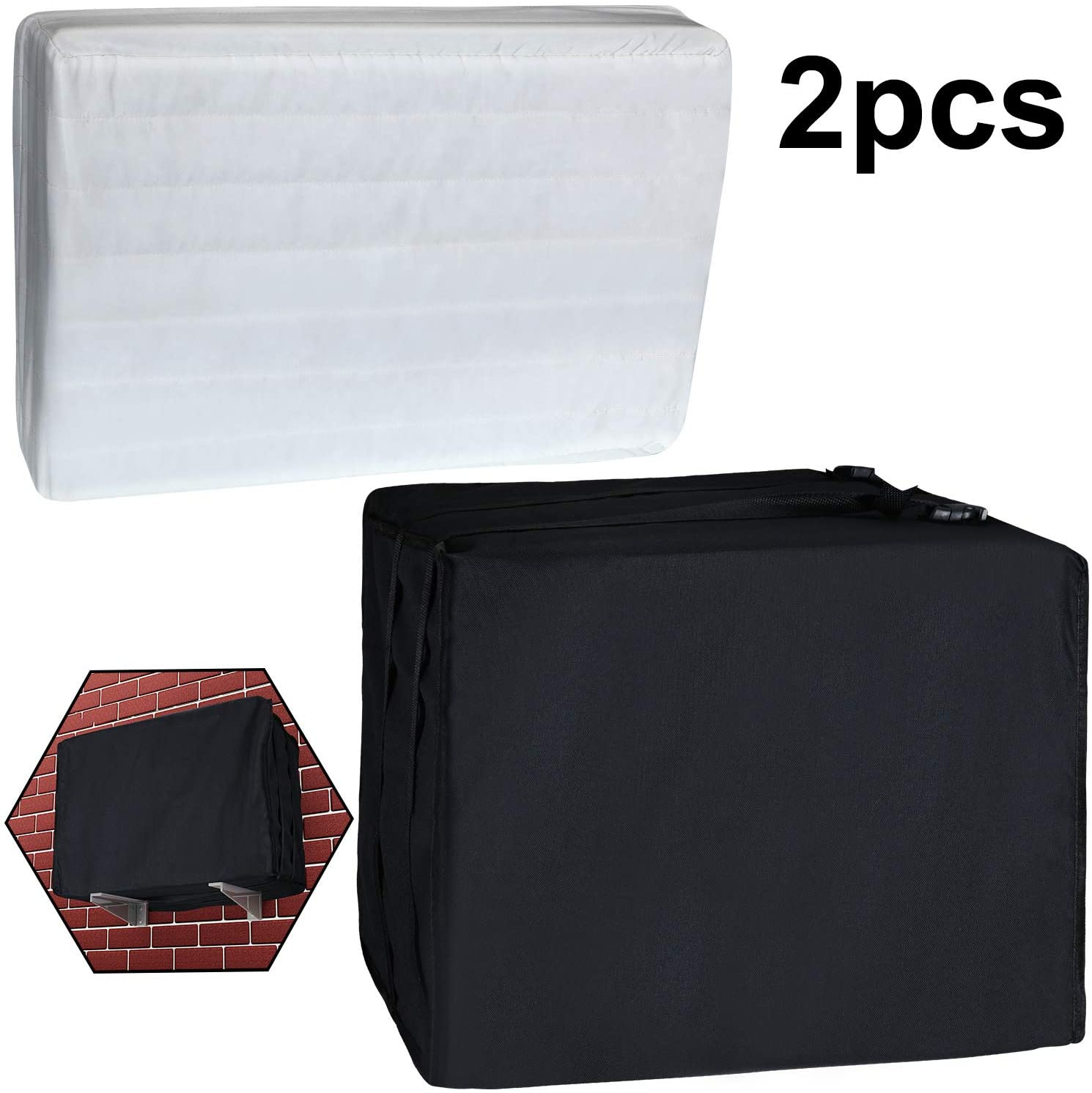 2 Pieces Outside and Indoor Window Air Conditioner Cover Water Resistant Adjustable AC Cover with Elastic Straps for Bottom Covered Outside Units, White and Black (70 x 56 x 46 cm, 70 x 50 x 7 cm)