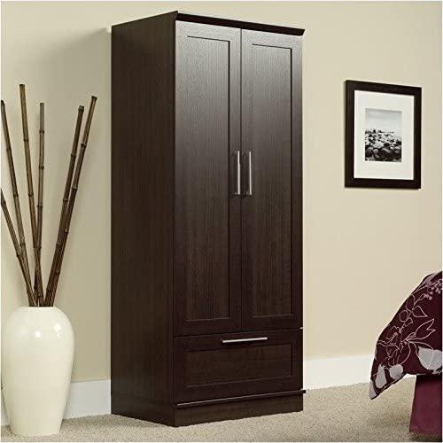 Pemberly Row Wardrobe Armoire, Storage Cabinet with 1-Drawer and Garment Rod in Dakota Oak Finish