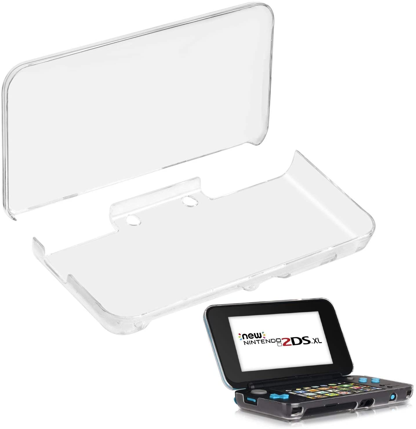 Nintendo 2DS XL Case, Protective Case for New Nintendo 2DS XL, Cover Shell skin For Nintendo 2DS XL Handheld Games Console, For Boys 1 Sets (Transparent)