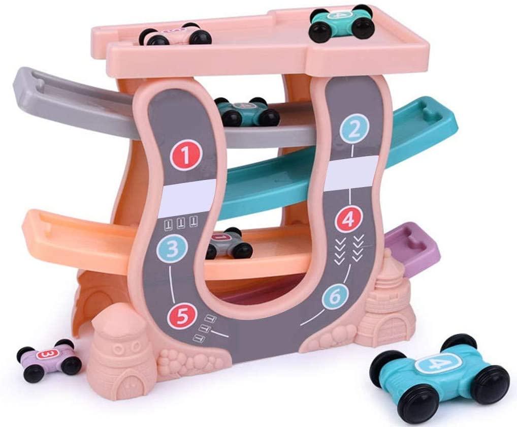 Toysgift Ramp Racer Toddler Car Track Toys for Kids Boys Girls, Car Park Zig Zag Car Slide with 4 Race Cars - Race Car Track Parking Garage Preschool Educational Toys Gift for Age 1+ (Pink)