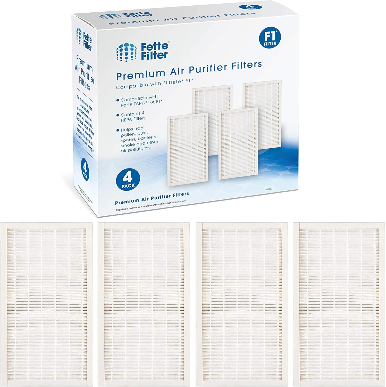 Fette Filter - 4 Premium Allergen Reduction True HEPA Filters Compatible with 3M Filtrete F1. Compare to Part # FAPF-F1-A F1 for Purifier FAP-C01-F1 & FAP-T02-F1.