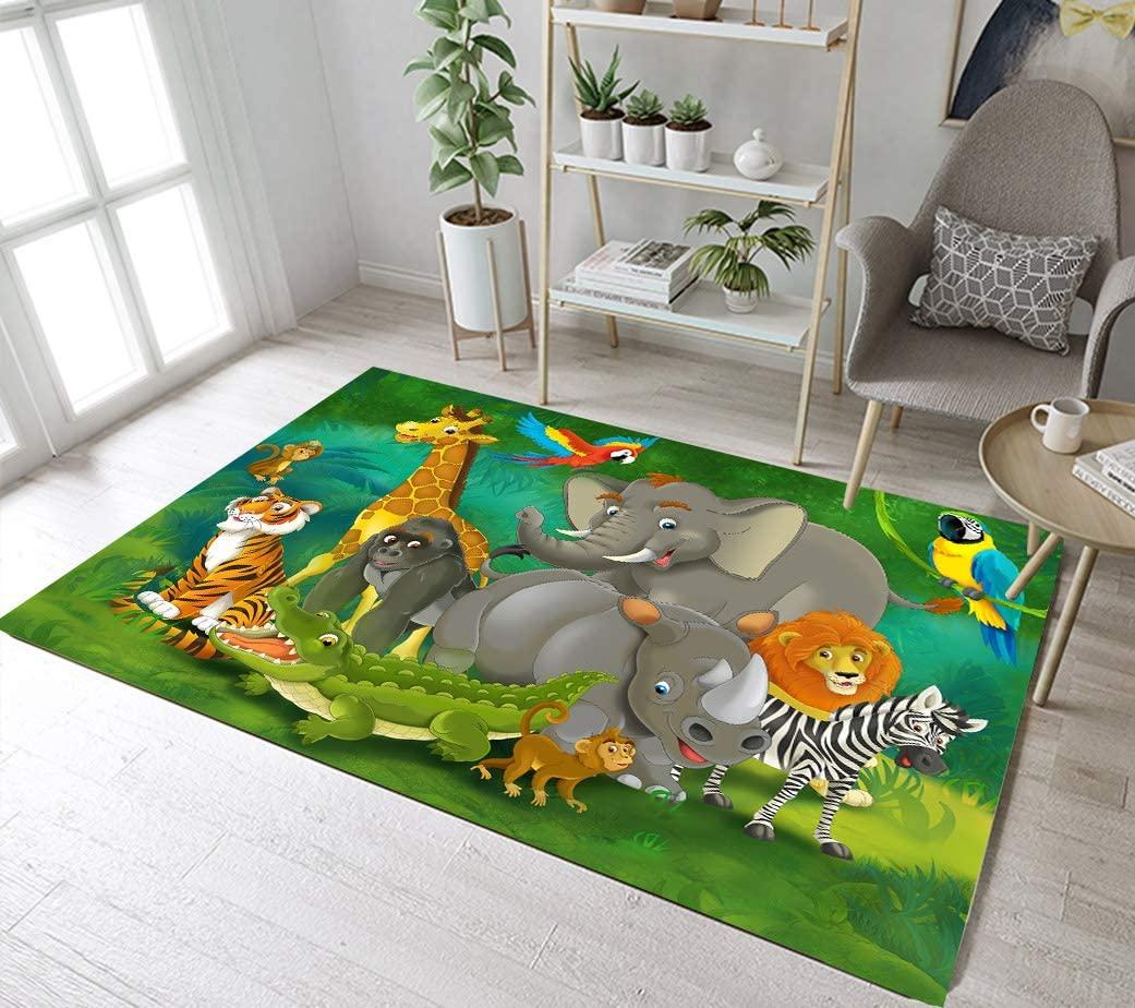 LB Kids Jungle Animals Small Rug Doormat, Play Mat for Kids Bedroom Nursery Room, Soft Comfortable Memory Foam Flannel Mat, 19 x 31 Inch