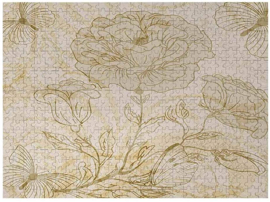 Interestlee 500 Piece Puzzles - Beige Adult Puzzles Various Sized Flourishing Roses and Butterflies Spring on Grungy Background Retro, Mode Beige
