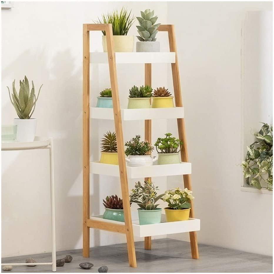 QNN Plant Stands,Pot Rack Bamboo Flower Stand Ladder-Shaped Plant Display Shelf Indoors Outdoors Flower Pots Holder Storage Shelf Decorative Flower Pots,Khaki,35Cm34Cm98Cm