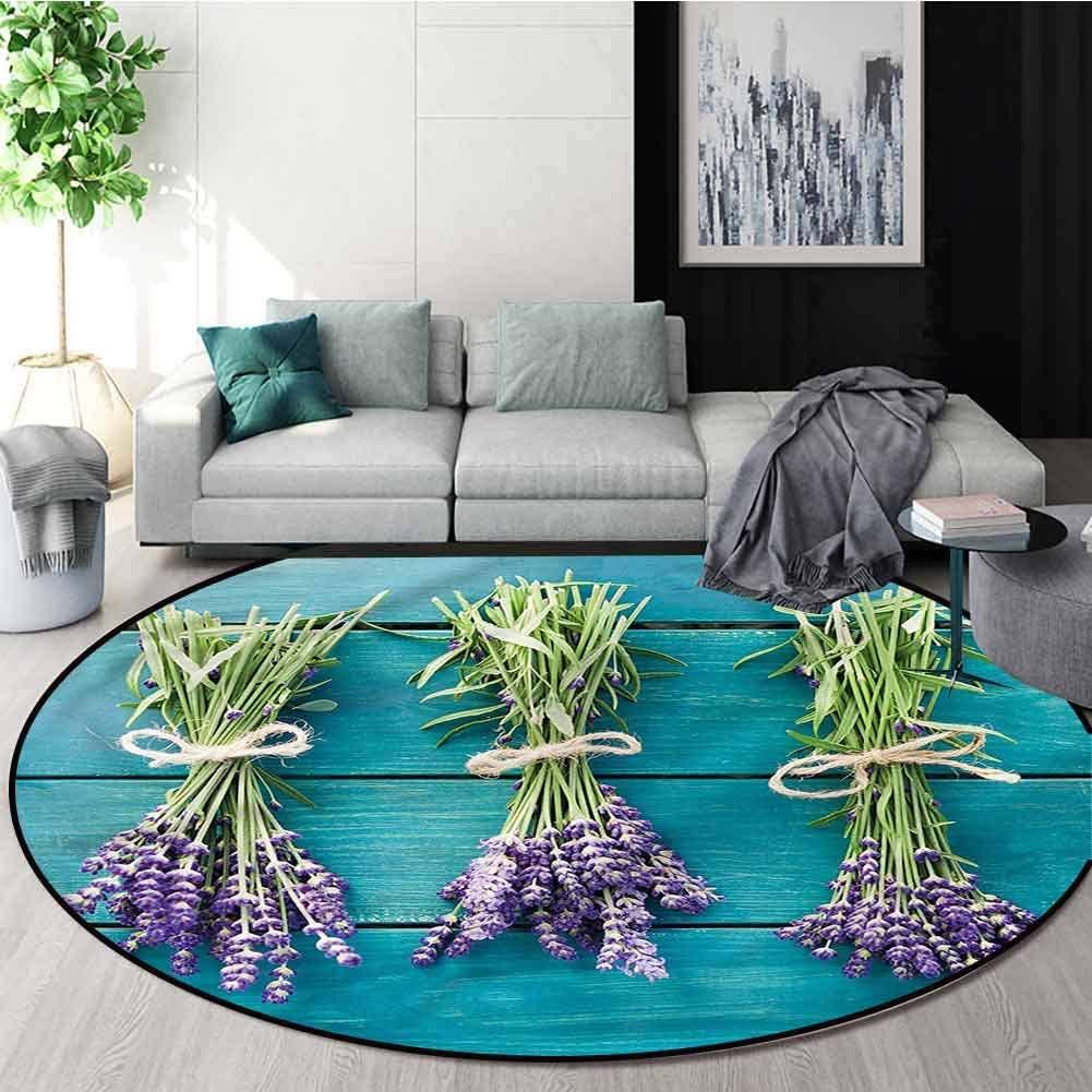 RUGSMAT Lavender Round Rugs for Bedroom,Blue Wooden Planks Rustic Non-Slip No-Shedding Kitchen Soft Floor Mat Round-59