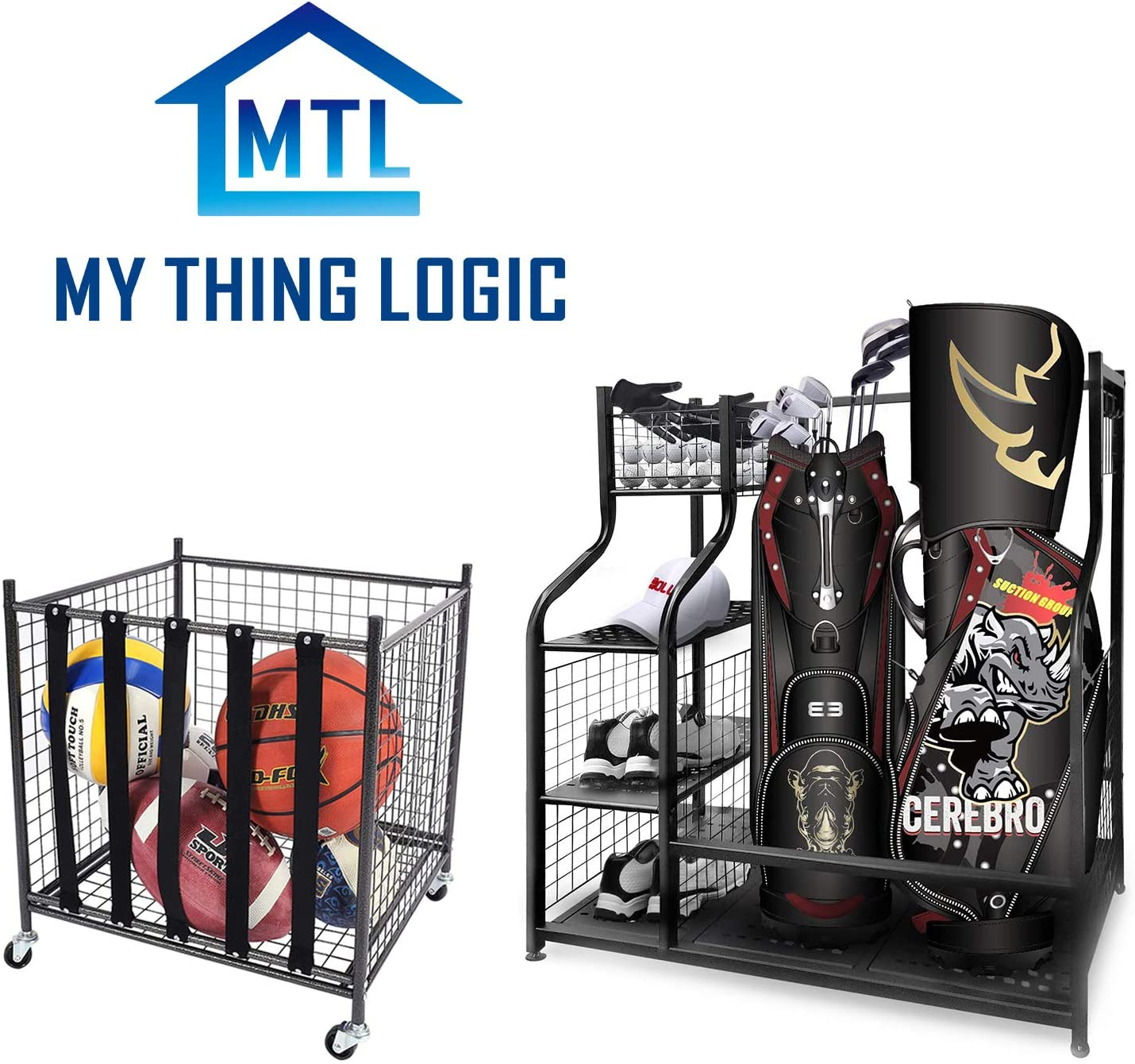 Mythinglogic Stackable Ball Cage for Garage Storage Garage Organizer/Golf Storage Garage Organizer,Extra Large Design for Golf Clubs Accessories