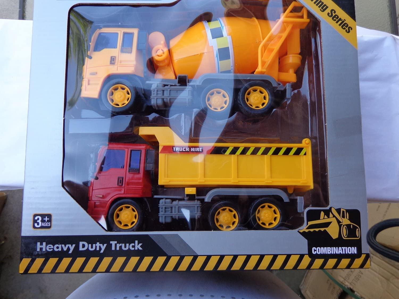 Toys4less Construction Vehicles Heavy Duty Set of 2 Trucks Friction Powered Play Set