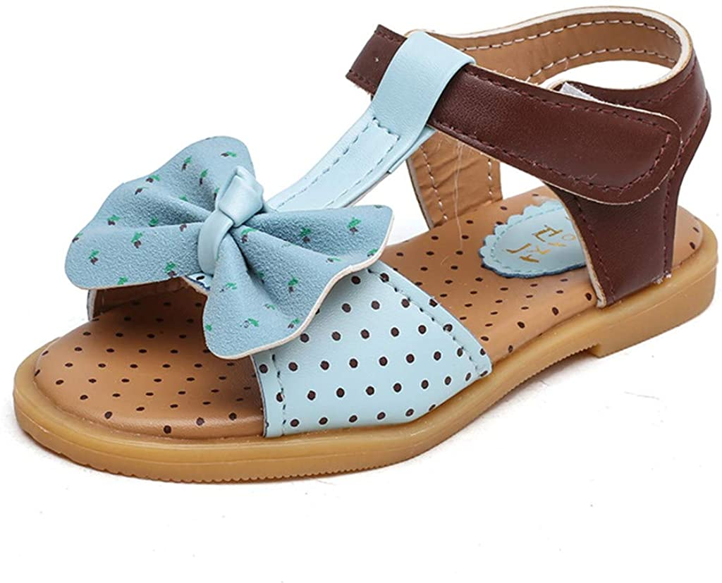 Little Girls Princess Shoes,Jchen Kids Baby Girls Bowknot Breathable Color Block Casual Princess Shoes Sandals for 1-7 Yrs
