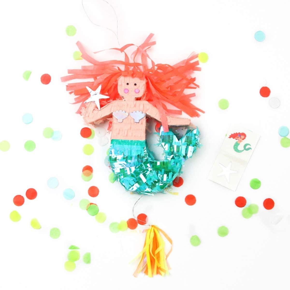 NICROLANDEE Mermaid Pinata - Under The Sea Theme Mermaid String Pinata with Tassel Confetti Tattoo Stickers for Girls First Birthday Party Decor