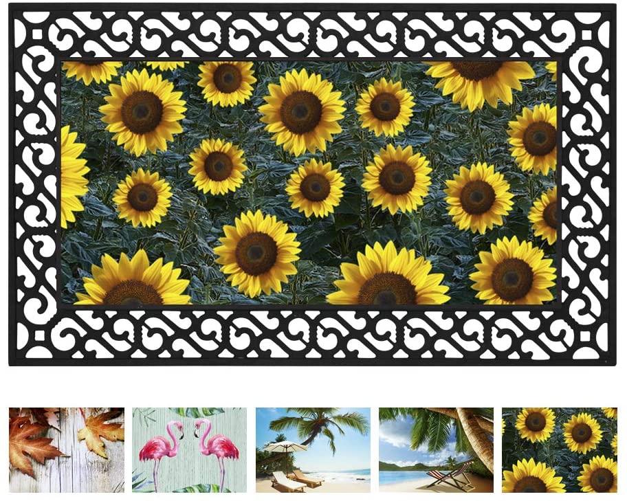 Sunflower Door Mat Front Door Mat Indoor Outdoor Welcome Mat Seasonal Doormat Entry Mat Rubber Backing Non Slip Low Profile, Easy Clean