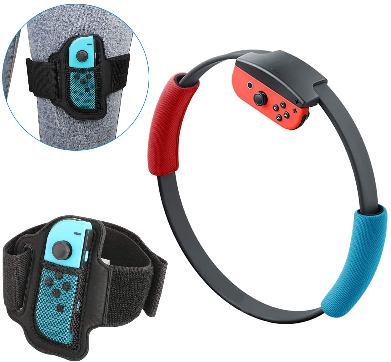 MoKo Accessories Kit for Ring Fit Adventure, 1 Leg Strap and 2 Ring-Con Grips for Nintendo Switch Ring Fit Adventure