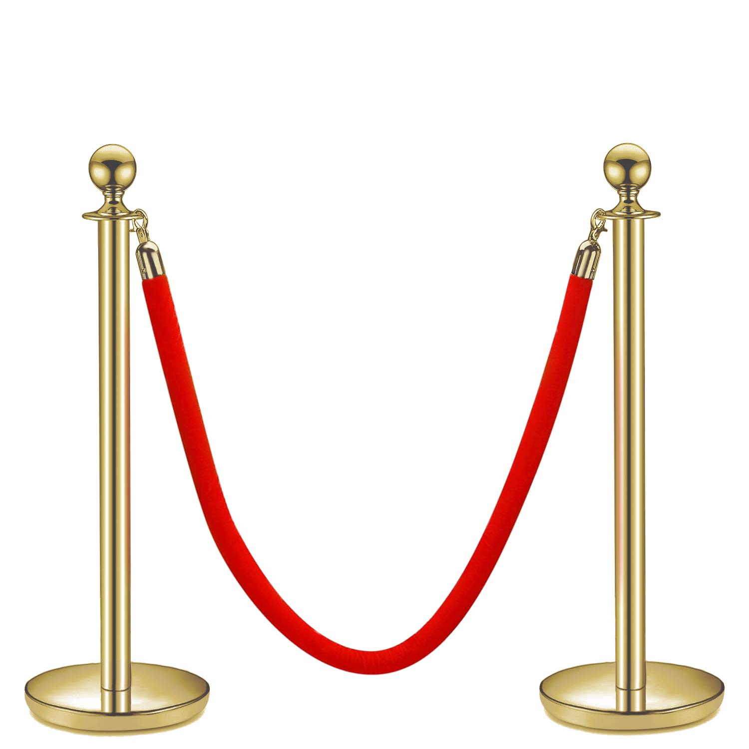Flexzion VIP Stanchion with Red Velvet Rope Stainless Steel Set of 2 Posts - Ball Round Top Crowd Control Queue Pole Barrier Ideal/f Movie Theaters, Red Carpet Party, Line Dividers Decoration (Gold)