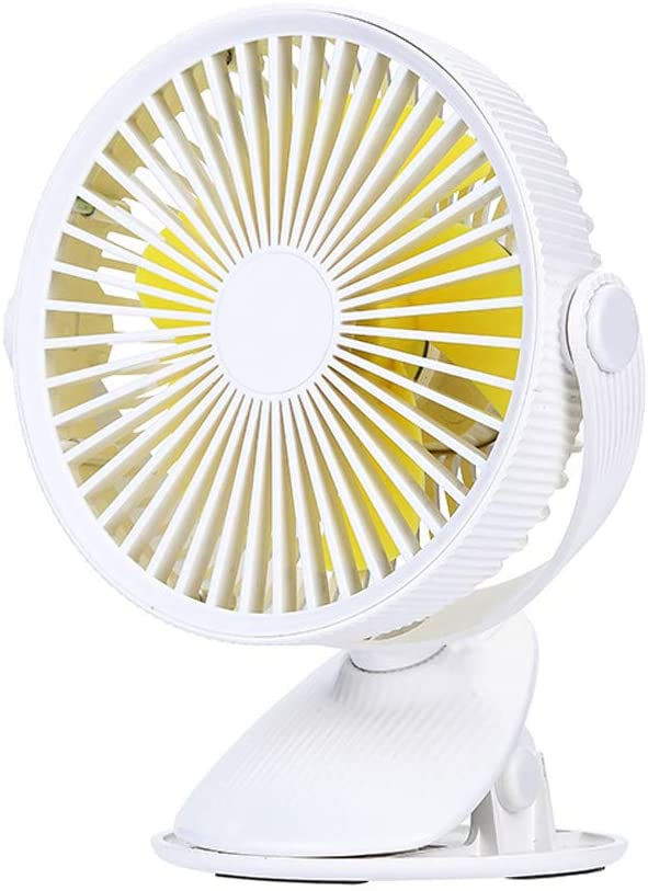 HQYXGS USB Portable Desk Fan - 360°Auto Rotation Cooling Fan with Clip, USB Rechargeable Battery Powered Fan for Baby Stroller Home Office Outdoor Travel,White