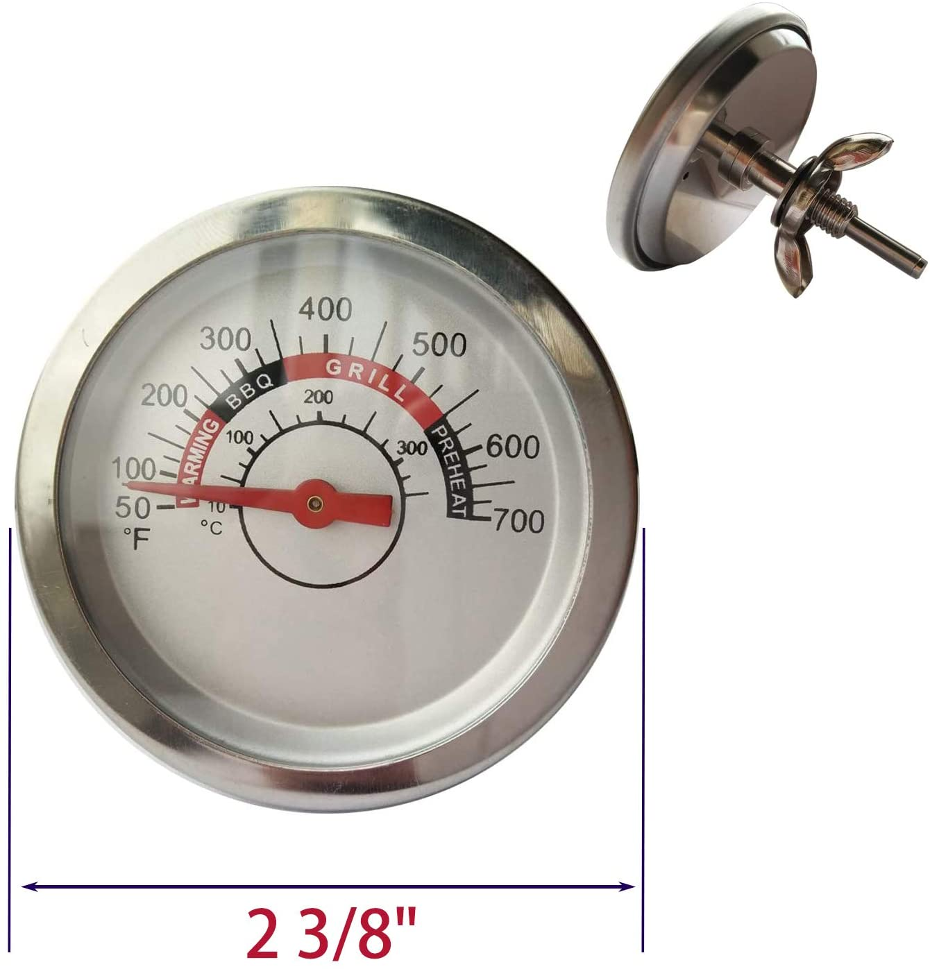 BBQ-Element Grill Thermometer Heat Indicator Replacement for Charbroil 463449914, 463241113, 463268107, Temperature Gauge for Brinkmann 810-3660-S Grill Models.