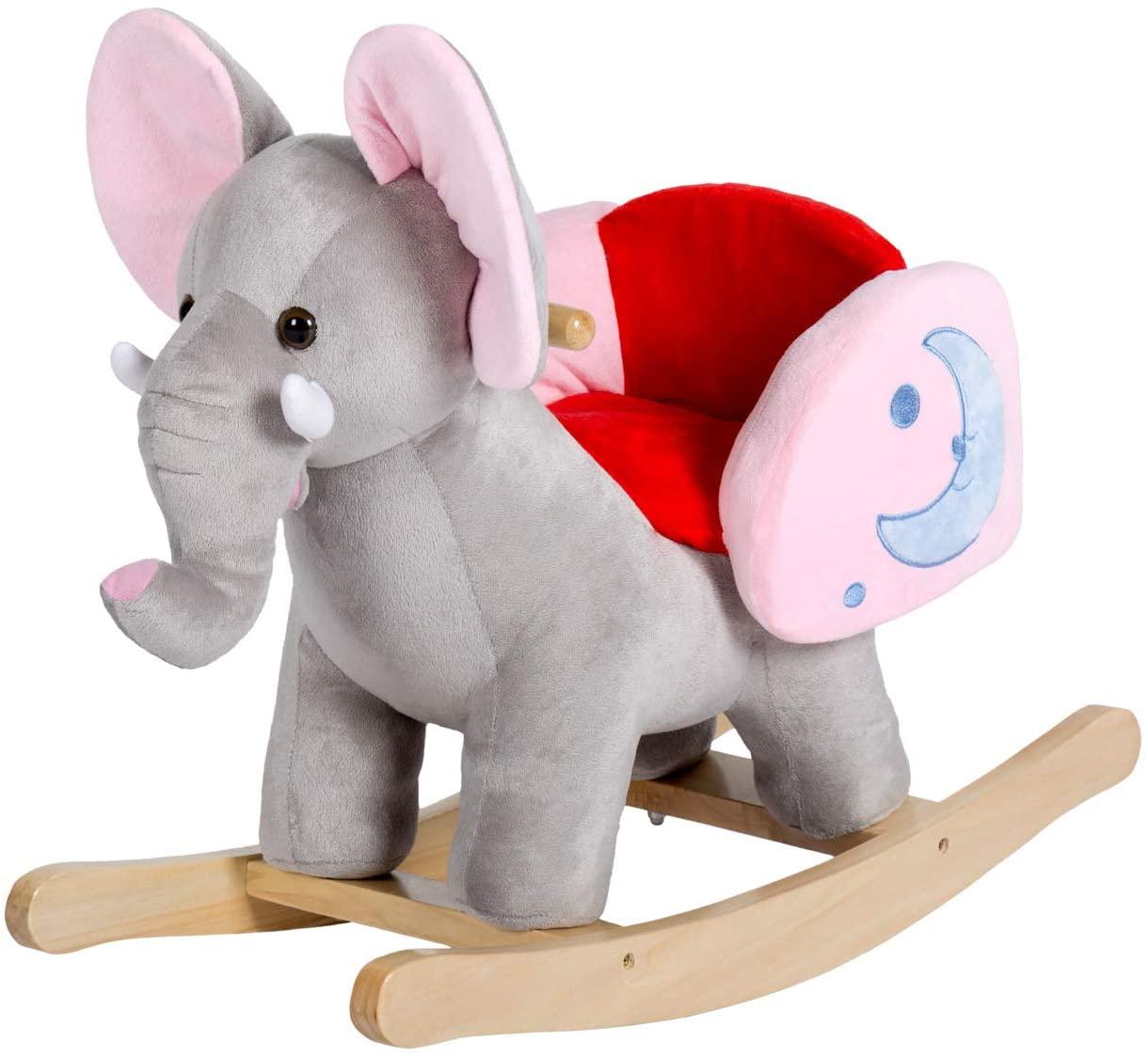 Peach Tree Rocking Horse Elephant Plush Rocker Horse Kids Ride On Toy Child Rocking Animal