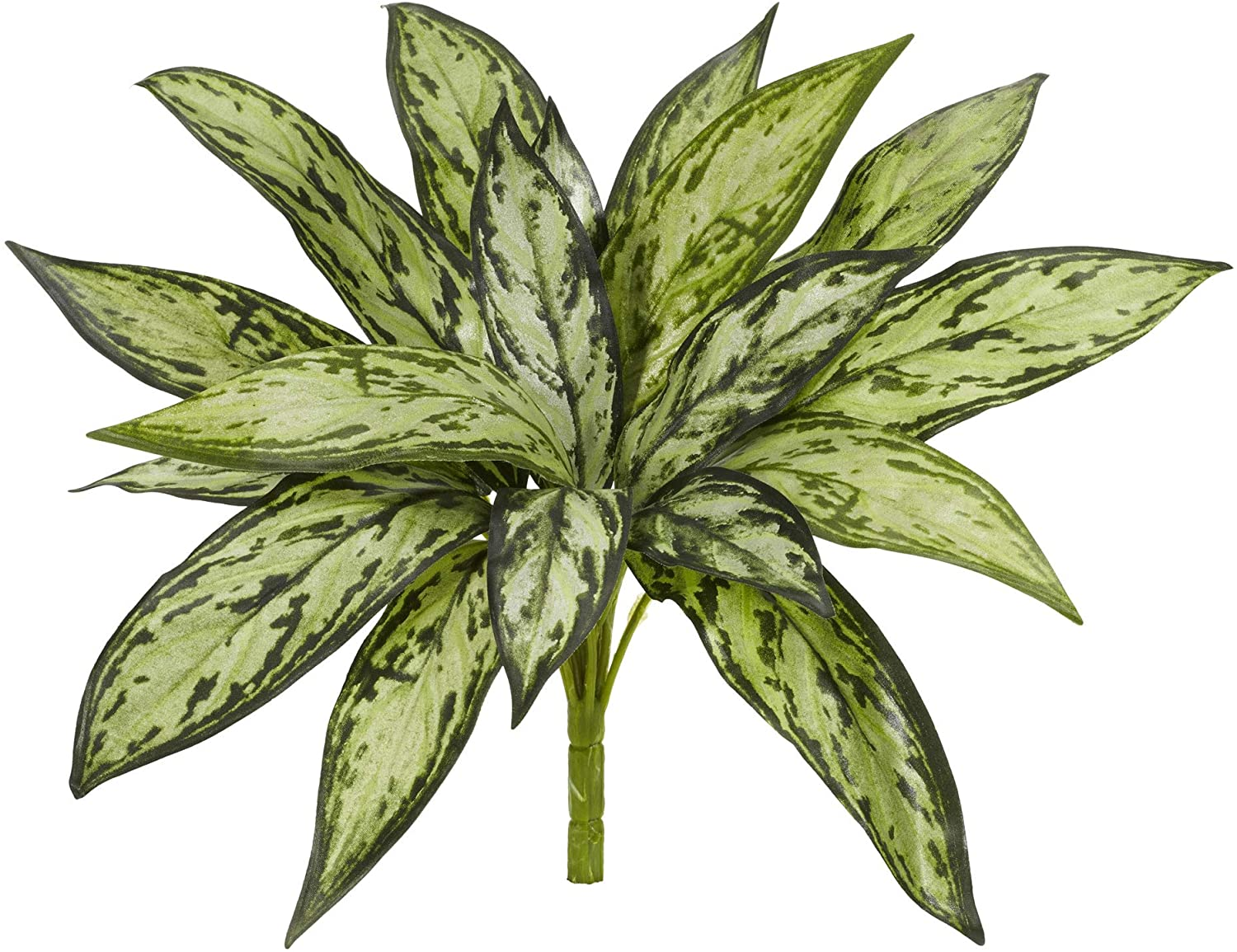 Nearly Natural Mini 10in. Variegated Silver Queen Artificial (Set of 6) Silk Plants, Green