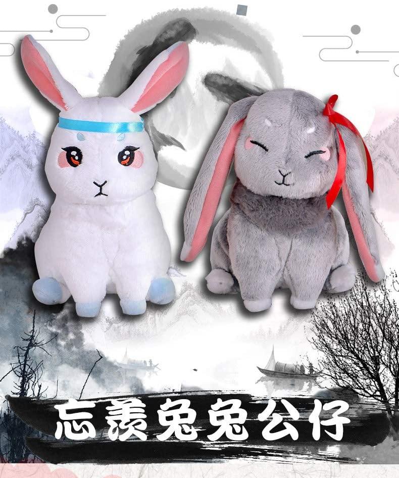 Vercico Grandmaster of Demonic Cultivation Wangji Wuxian Rabbit Bunny BL Plush Toy Doll 2pc for Mo Dao Zu Shi Anime Fans