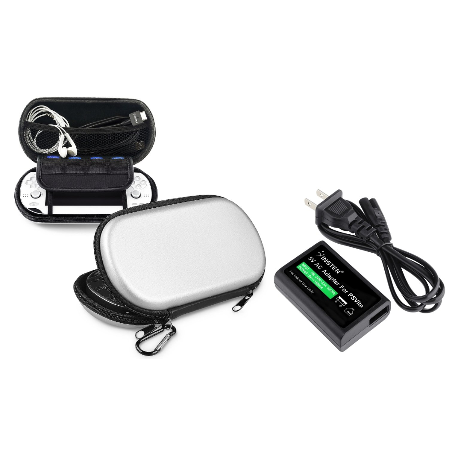 Everydaysource Compatible With Sony Playstation Vita Silver Eva Case + 1 Travel/Wall Charger
