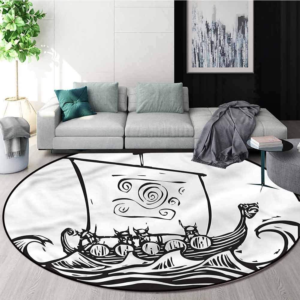 RUGSMAT Viking Machine Washable Round Bath Mat,Long Boat On A Quest Sketch Non-Slip Bathroom Soft Floor Mat Home Decor Round-39