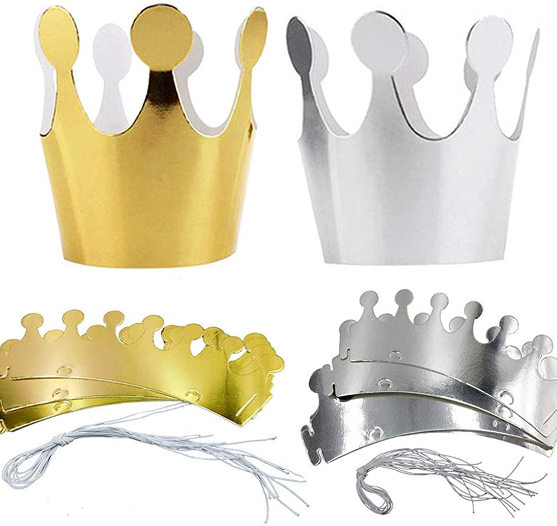 LiLiy 40Pcs,Cardboard Gold and Silver Crown Party hat Headdress, Suitable for Adults, Children, Pets, etc. Birthday Wedding Proposal Holiday Celebration Party Accessories,9.8×3.5(inch)