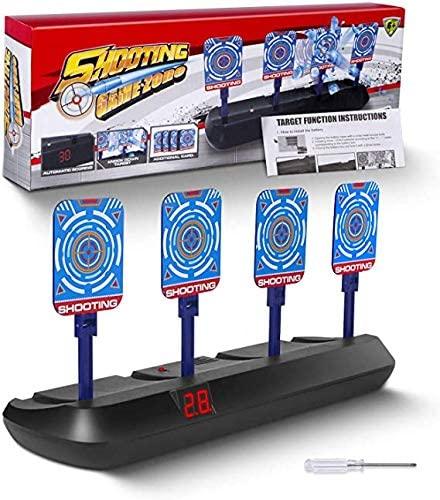 Nerf Gun Targets,Electronic Shooting Target for Nerf Guns,Electronic Auto Scoring Reset Shooting Digital Target with Wonderful Light & 3D Sound Effect,Ideal Gift Toy for Kids Boys Girls (Black)