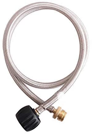 KIBOW Type 1(QCC 1) 4FT Stainless Steel Braided Propane Hose & Adapter/Connects 1LB Propane Tank Connector Appliances to a Refillable Bulk Propane Cylinder