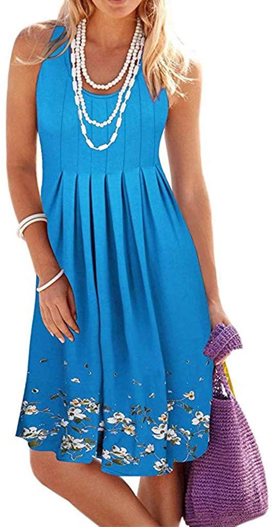 Shakumy Women Summer Sleeveless Pleated Mini Dress Casual Loose Floral Print Beach Sun Dress Knee Length Tunic Tank Dress