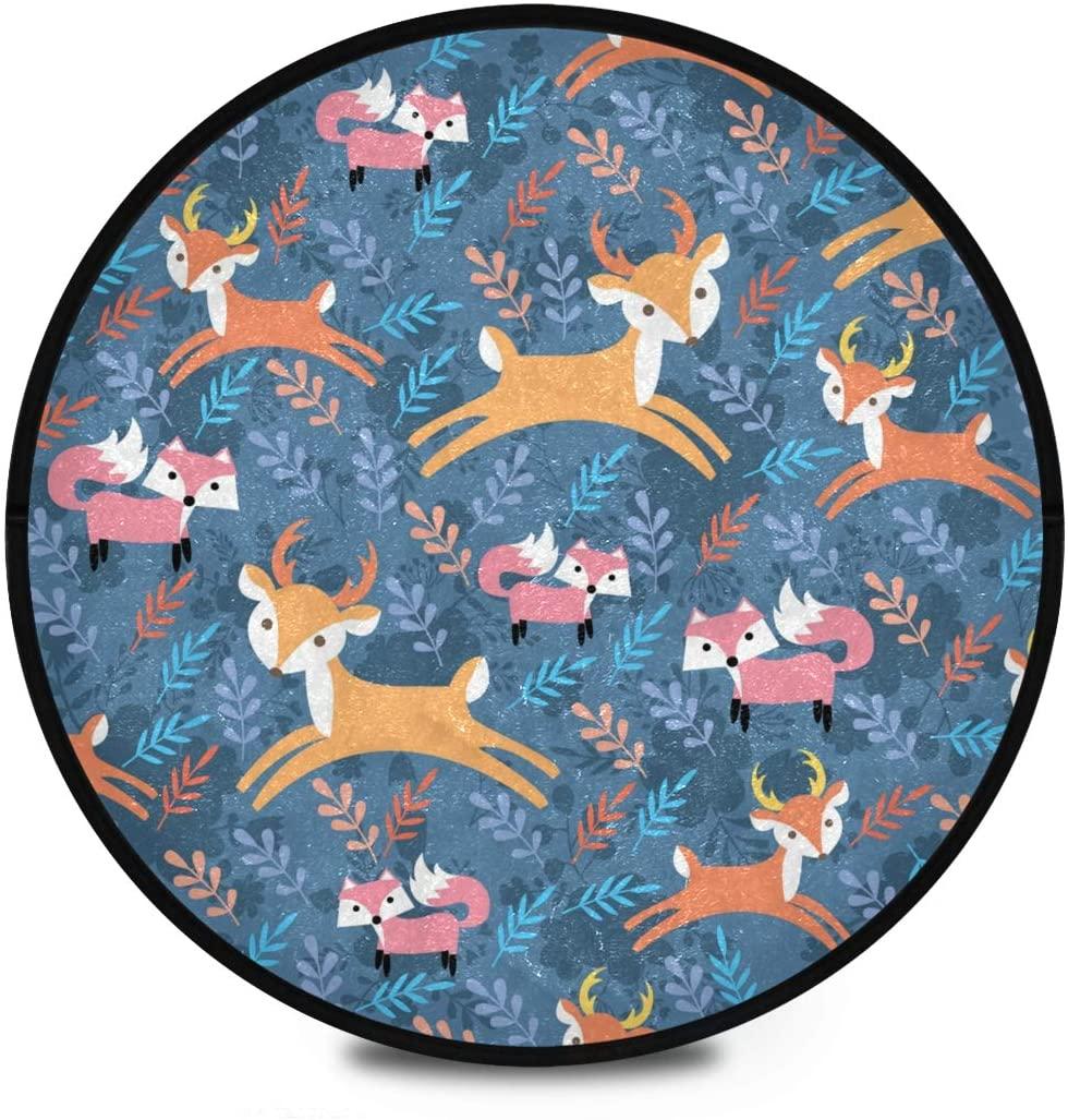 Shaggy Round Mat Deer Fox Small Round Rug for Kids Playroom Anti-Slip Rug Room Carpets Play Mat
