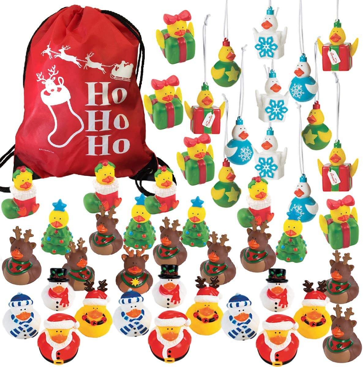 45 Christmas Holiday Rubber Duckies Bulk Variety Pack Assortment with 1 Ho Ho Ho Drawstring Bag - Stocking Stuffers - Festive Party Favors - Kids Novelty Toys Prizes Handouts