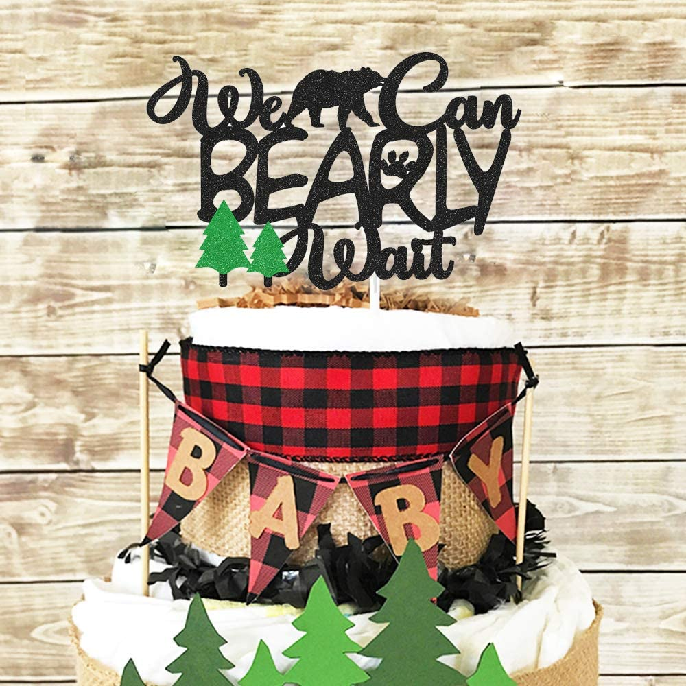 Lumberjack Baby Shower Cake Topper We Can Bearly Wait Diaper Cake Decoration Rustic Hunter Camping Themed Woodland Forest Baby Shower Party Supplies