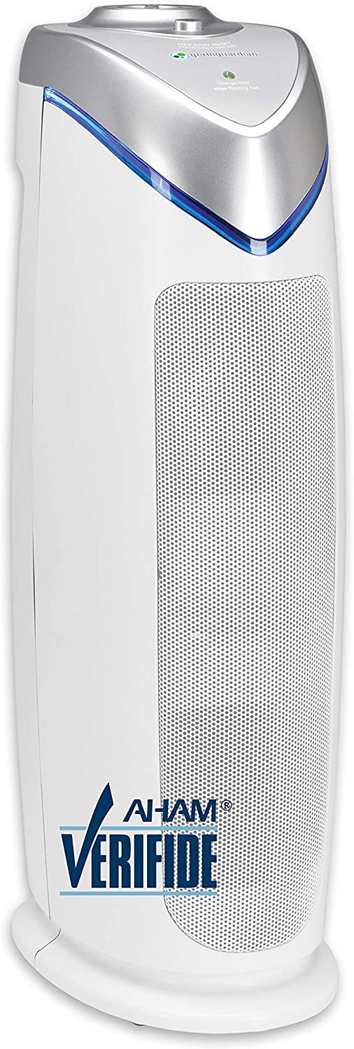 Germ Guardian True HEPA Filter Air Purifier with UV Light Sanitizer, Eliminates Germs, Filters Allergies, Pollen, Smoke, Dust, Pet Dander, Mold, Odors, Quiet 22in 4-in-1 Air Purifier for Home AC4825W